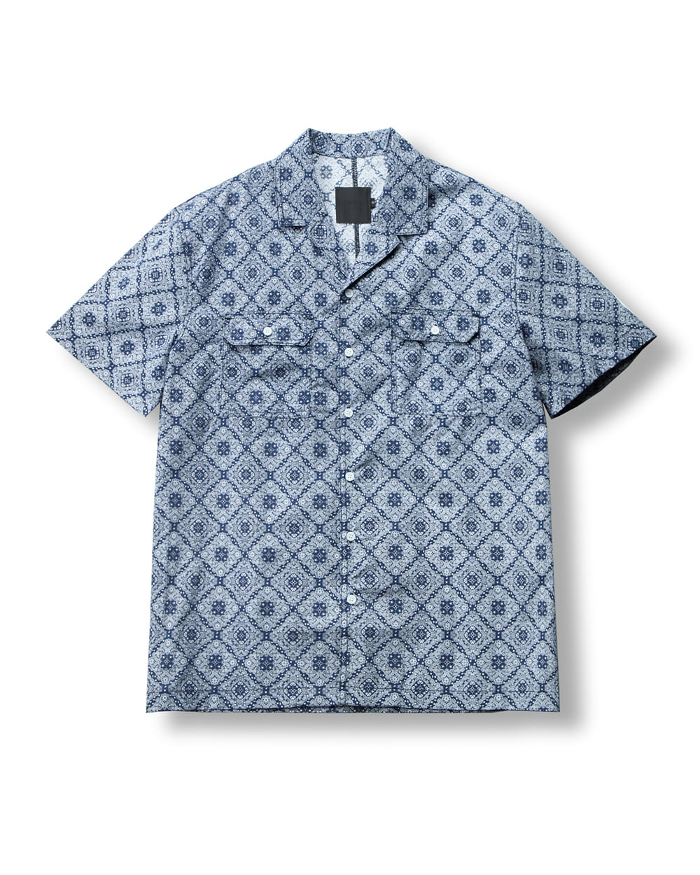 DOUBLE POCKET PAISLEY SHIRT NAVY