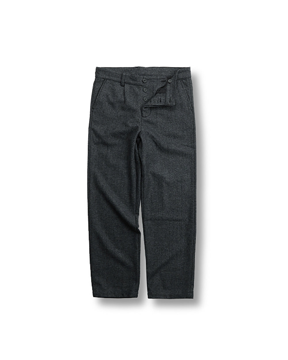 WOOL HERRINGBONE PANTS DARK GRAY