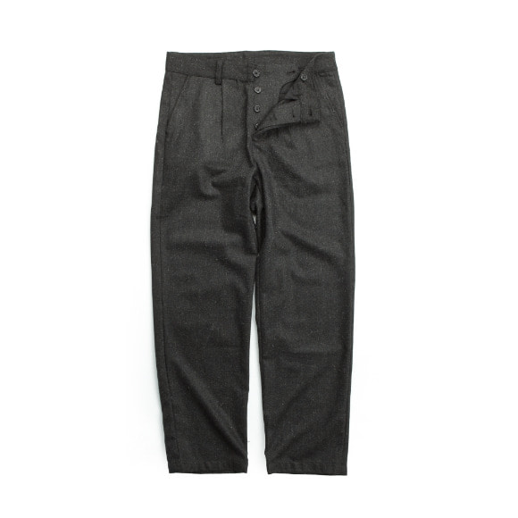 WOOL FLANNEL PANTS LIGHT BLACK