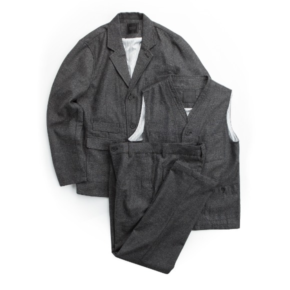 WOOL FLANNEL 3PCS SET-UP GRAY