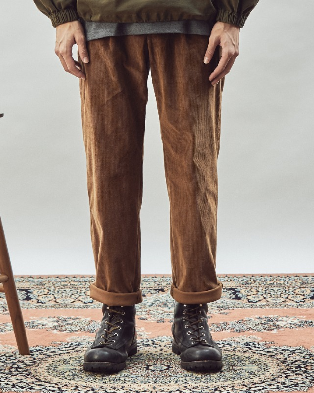 CORDUROY TAPERED PANTS CHESTNUT