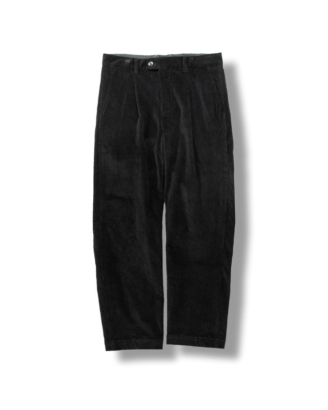 CORDUROY TAPERED PANTS BLACK